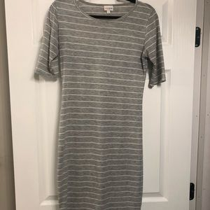 Gray & white striped small LuLaRoe Julia Dress